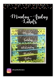 Monday - Friday Confetti Themed Labels