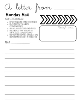 Monday Mail- Writing Prompt