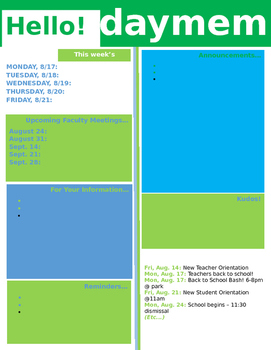 monday memo template weekly memo template by tori akers tpt