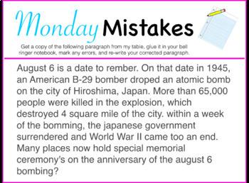 Monday Mistake Morning/Bell Work PP - FULL YEAR!