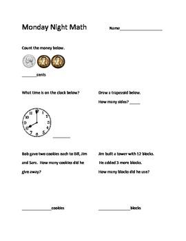 Monday Night Math Homework