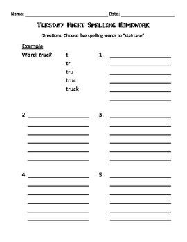 Monday-Thursday Night Spelling Homework