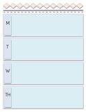 Monday -Thursday Blank Week Schedule