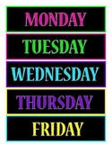 Monday through Friday Box Labels (Bright Neon Colors on Black)