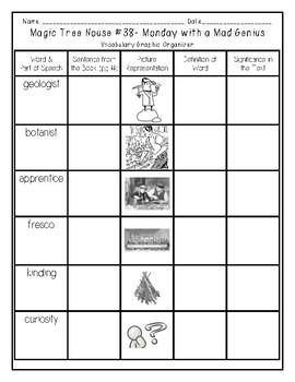 Monday with a Mad Genius Vocabulary Graphic Organizer