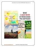 Monet Art 3 Lesson Bundle Water Lilies Bridge Windmill Pre