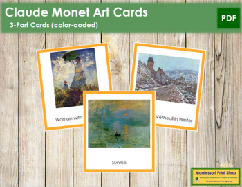 Monet (Claude) 3-Part Art Cards - Color Borders