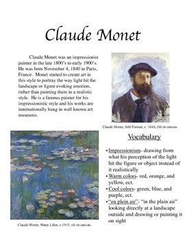Monet Handout and Worksheet