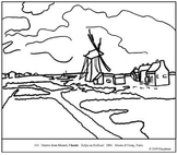 Monet.  Tulips in Holland.  Coloring page and lesson plan ideas