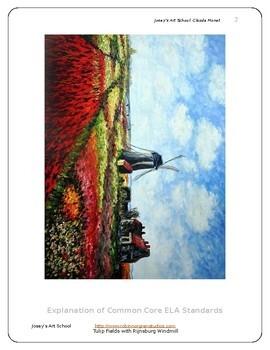 Monet Windmill Chalk Pastel Art Lesson Teach Grades K-6th Art History Project