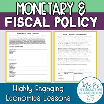 Monetary & Fiscal Policy Research-Based Economics Lesson!