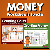 Identifying Coins, Counting Money Worksheets Bundle, Dollar Bill Printable etc