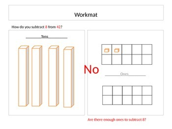 Subtraction using workmat