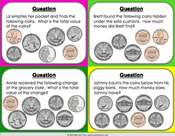 Money Game: Counting Bills and Counting Coins Game {2.MD.8, 2.MD.C.8}