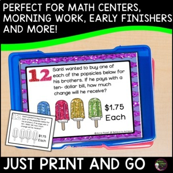 Money-2 step word problems (24 Task cards)