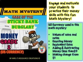 Money worksheets - Math mystery money review (GRADE 2)