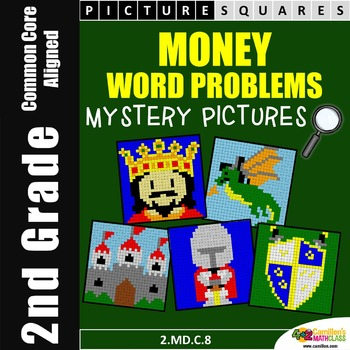 Money Word Problems, 2nd Grade Money Stations Mystery Pictures 2.MD.C.8