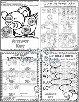 Counting Coins Quarters Activities