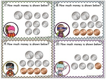 Money Activities Counting Coins Task Cards