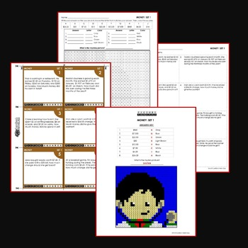 4th Grade Money Word Problems, Money Worksheets Mystery Pictures