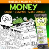 Money Activities: Counting, Comparing, Making Change Halloween Monster Money