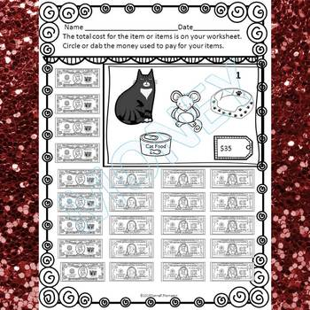 "Family Shopping ""Counting Money"" (Money Worksheets)"