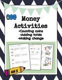 Money Activity- 3rd grade- adding totals, subtracting change, counting bills