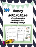 Money Activity for 3rd grade adding totals, subtracting change, counting bills