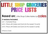 Money Activity - Little Shop Collectables Price Lists