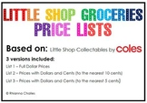 Money Activity - Little Shop Collectables Price Lists