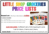 Money Activity - Little Shop Collectables Price AND Shopping Lists