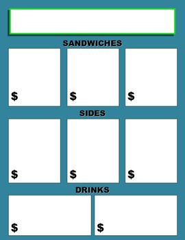 Money Activity ~ Create-Your-Own Menu