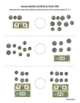 Money Addition/Comparing (2.MD.8) w/Dollar Bills