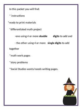 Money,  Addition, and Story Problems! Build -A- Witch