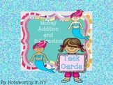 Money Addition and Subtraction Task Cards {Mermaid Theme}