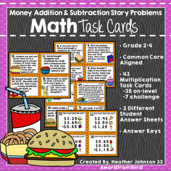 Money Addition and Subtraction Task Cards: Real World Stor