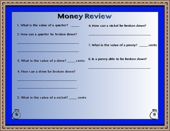 Money Anchor Charts with Practice Sheet (Quarters, Nickels, Dimes, Pennies)