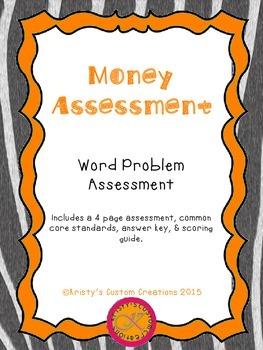 Money Assessment: Word Problems