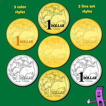 Money: Australian Coins Currency Clip Art Set