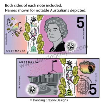 Money: Australian Currency - Notes Clip Art Set