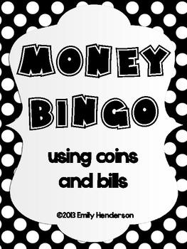 Money BINGO using bills and coins