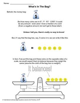 Money Bag Balance Equations - Lots of Practice!