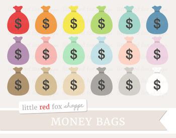 Money Bag Clipart; Bank, Dollar, Cash, Pouch