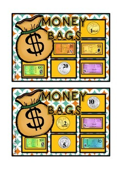 Money Bags - Money Identification Bingo - Australian Currency
