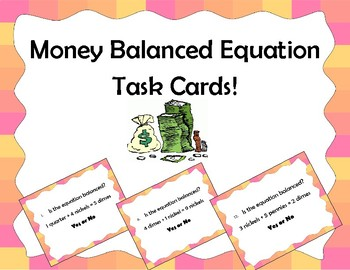Money Balanced Equations Task Cards or Scoot