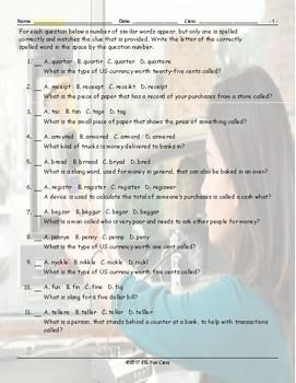 Money-Banking Spelling Challenge Worksheet