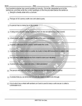 Money-Banking Spelling Hunt Worksheet