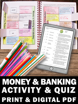 Financial Literacy Vocabulary, Money Banking Terms, Applied Math for High School