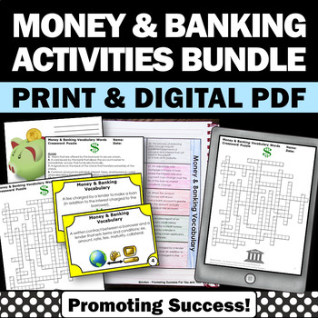 Financial Literacy BUNDLE Money and Banking Math Vocabular