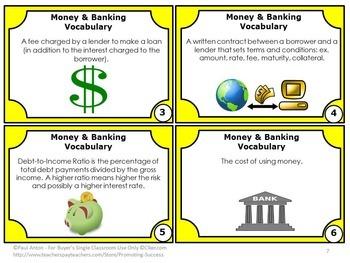 Financial Literacy Vocabulary BUNDLE Money and Financial Math Banking Life Skill